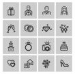 vector black wedding icons set