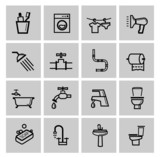 vector black bathroom icons set