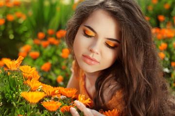 Beauty Romantic Girl Outdoors. Eye makeup. Beautiful Teenage Mod