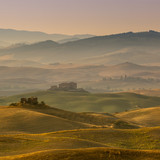 Tuscan Farmland with Villas and Villages at Dawn