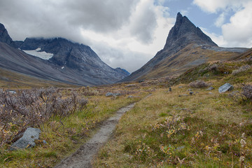 Hiking Trail in the Nallo Valley in Sweden