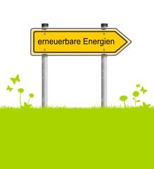 Wiese Schild erneuerbare Energien