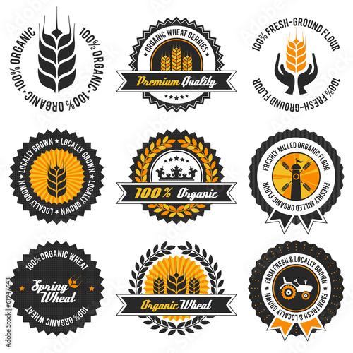 organic wheat label set with modern, vintage elements
