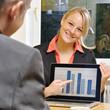 Geschäftsfrau präsentiert Diagramm