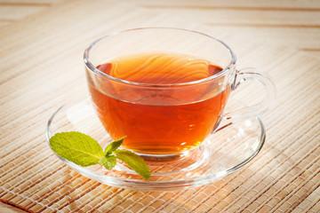 Black tea in a transparent bowl