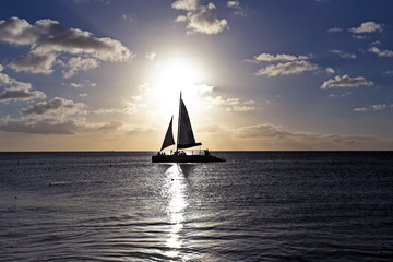 Sailing in the caribbean at sunset