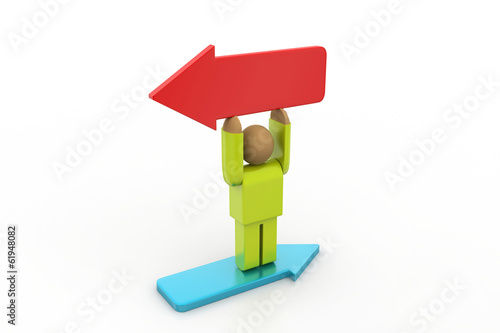 3d man with different direction arrows