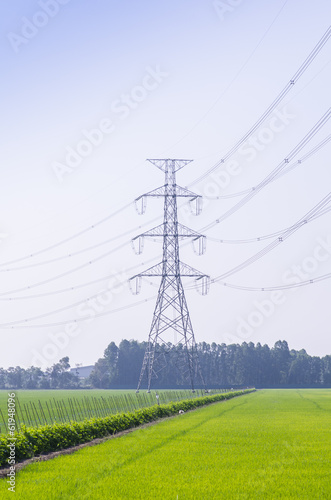 Electric Transmission Tower on filed