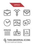 Collection of office trendy thin line icons