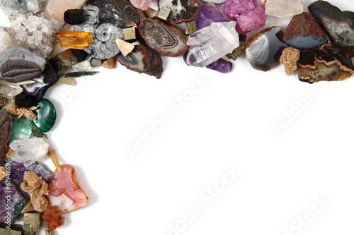 Fotobehang Edelsteen color gems on white background