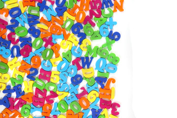color plastic letters as background