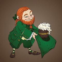 Red leprechaun with beer.