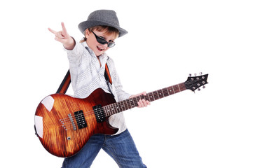 Boy in hat and glasses with the guitar