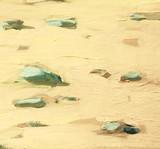 white sea sand and stones on coast, painting,  illustration