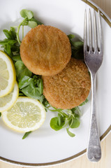 atlantic cod fishcake with salad