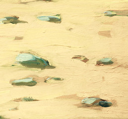 white sea sand and stones on coast, painting,  illustration