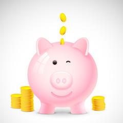 Coin falling into Piggy Bank