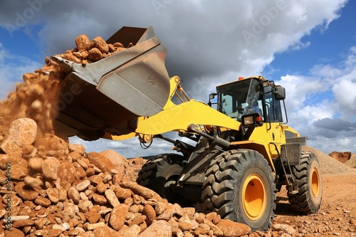 canvas print picture Front End Loader Tipping Stone