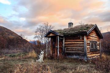 Olt hut in the wilderness of sweden