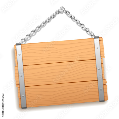 Wooden signboard hanging on metal chain.