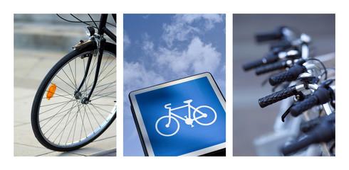 Collage sur le vélo en ville