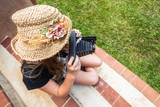 Girl film camera hat vintage style