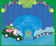 Santa Claus driving car with Christmas gift - Abstract Christmas