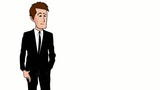 Businessman costume noir dessin cartoon video explicative
