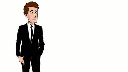 Businessman costume noir dessin cartoon video explicative