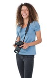 Portrait of a cheerful female photographer