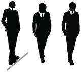 Business man in suit and tie silhouette. Illustration on white