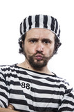 Illegal, Desperate, portrait of a man prisoner in prison garb, o