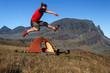 Hikers jump
