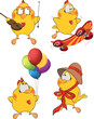 Set of Chicken Cartoons