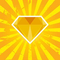 Vector illustration of diamond with orange background
