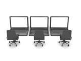 Three laptops and office chairs on white background