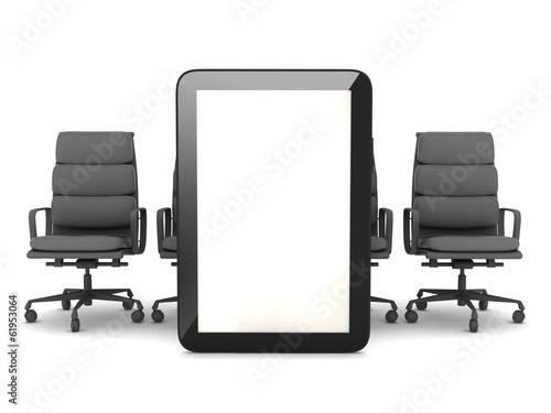 Tablet computer and office chairs on white background