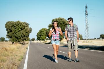 Couple on hiking summer travel