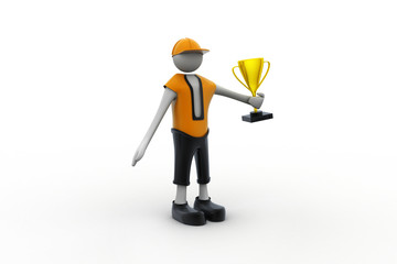 3D Man with Golden Trophy