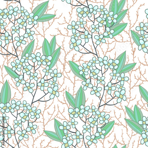 Seamless texture with small blue flowers