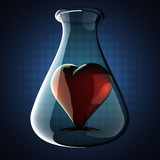 heart in Laboratory glassware on blue