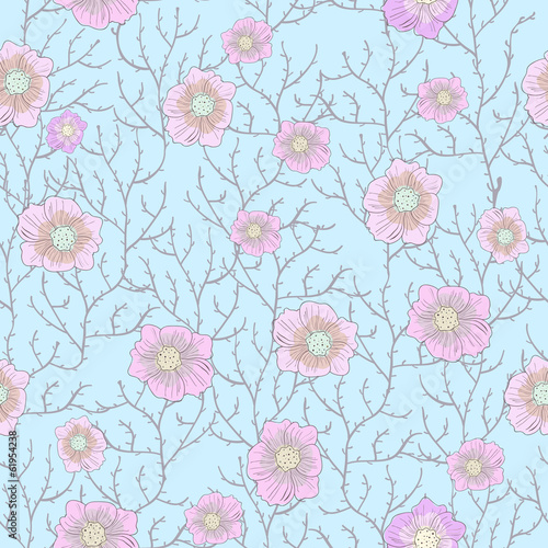 Seamless texture with twigs and pink flowers