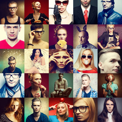 Hipster people concept. Collage of fashionable men & women