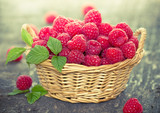 Fresh raspberry in the basket