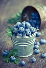 Blueberries in the small bucket
