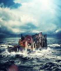 sinking building