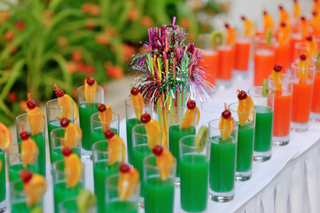 buffet banquet table colorful drinks on a long white table