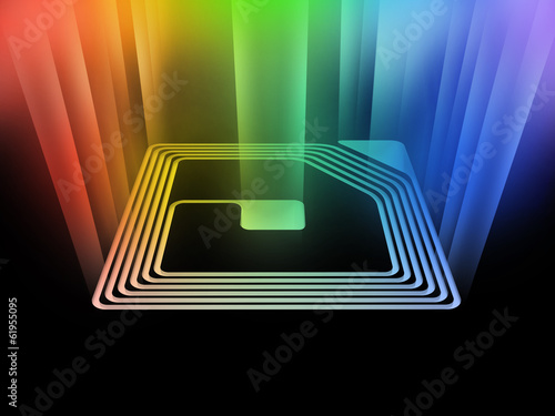 rfid chip with light beam - 61955095