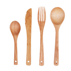 Spoon, fork and knife, made ​​of wood