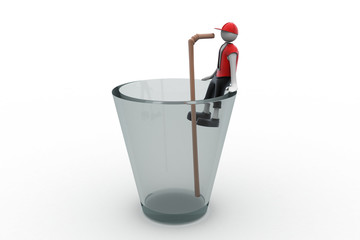 3d man drinking with straw